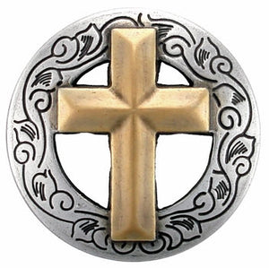 Set of 6 Christian Cross Conchos--Screw Back