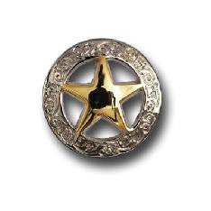Set of 6 SMALL Western Star Conchos--RIVET BACK