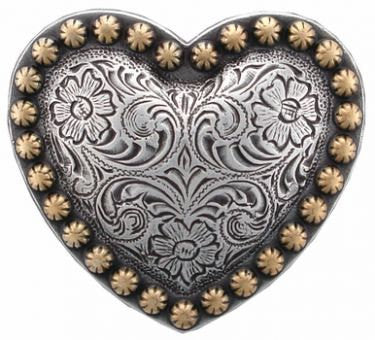Set of 6 Engraved Western Heart Conchos--Screw Back