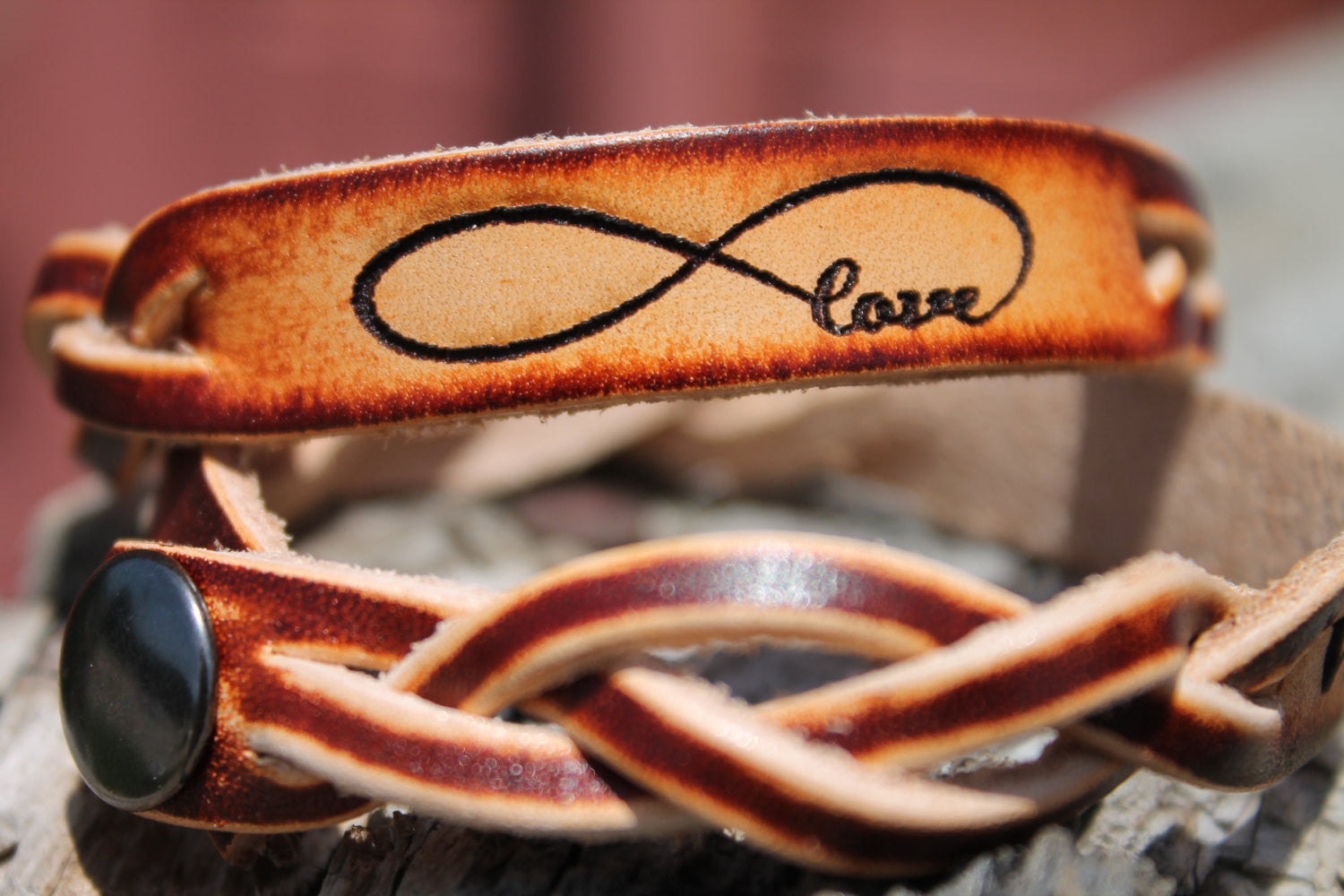 Engraved INFINITY LOVE symbol--Braided Leather Bracelet (one bracelet)
