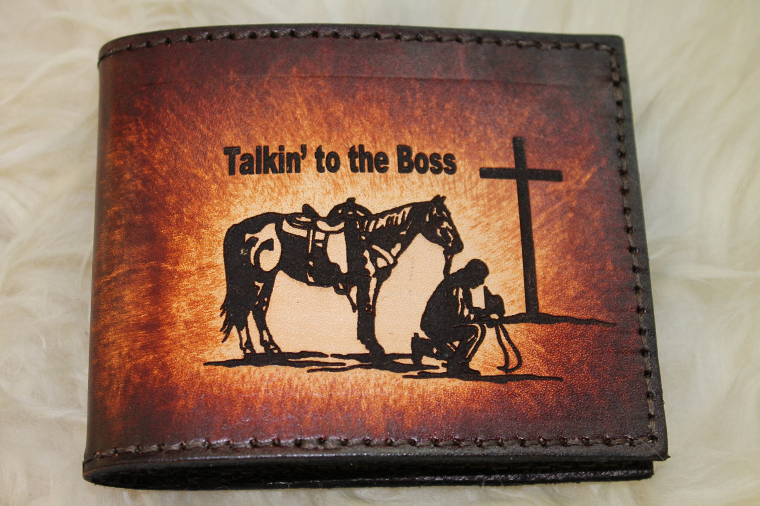 Handcrafted Genuine Cowhide Leather Bifold Wallet with Cowboy Church--Initials Engraved Free!