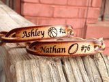 Custom Engraved Braided Leather Bracelet  (one bracelet) with name, sport, and number engraved free!