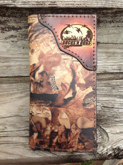Roper Checkbook Wallet RealTree Camo Leather with DUCKS and DOGS Corner accent--Name or Initials Engraved Free!