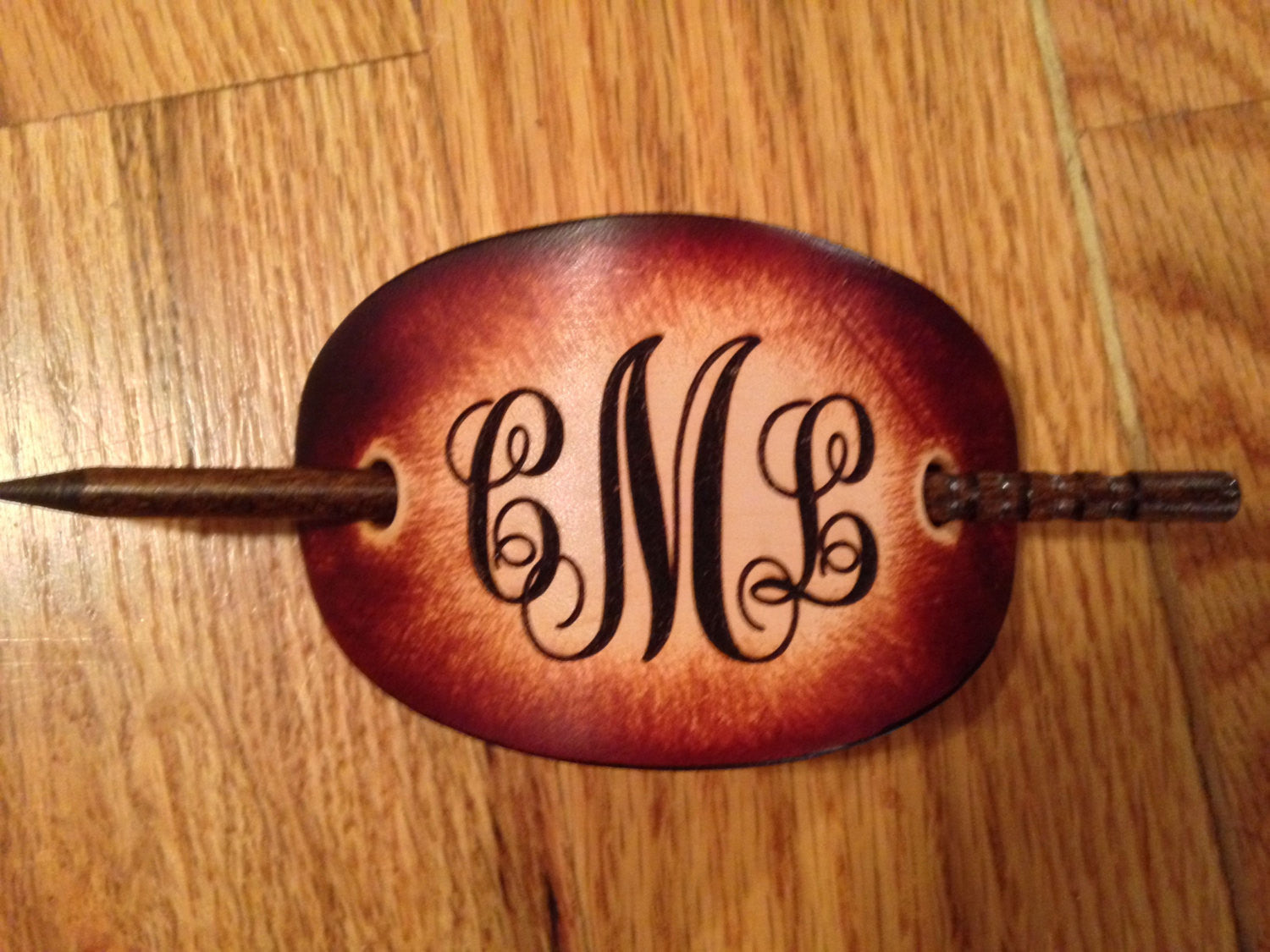 Handcrafted Leather Barrette with Custom Engraved Initials First--Last--Middle in that order