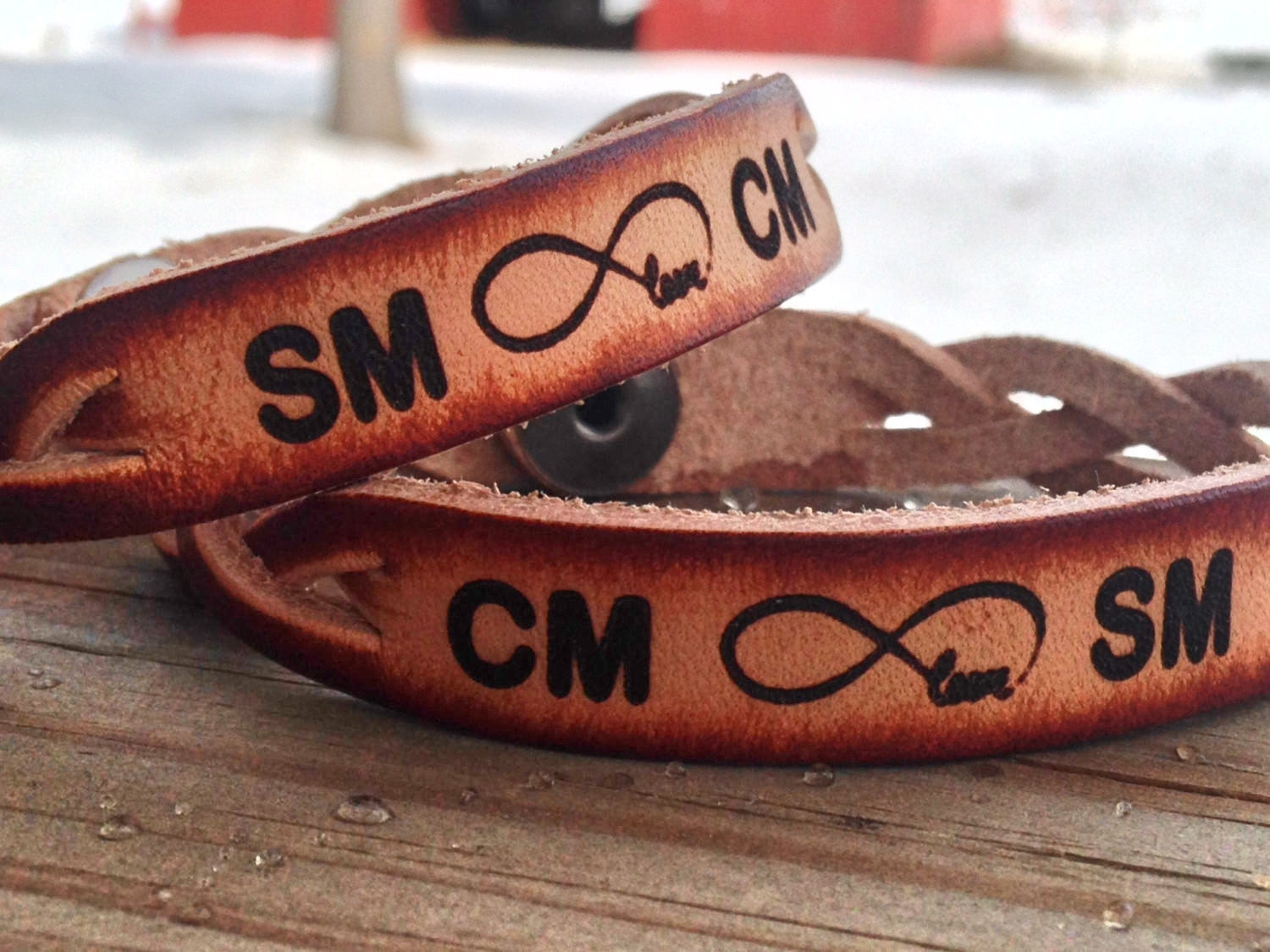 INFINITY LOVE Bracelets, Custom Bracelets for Two, Initials Engraved Free!