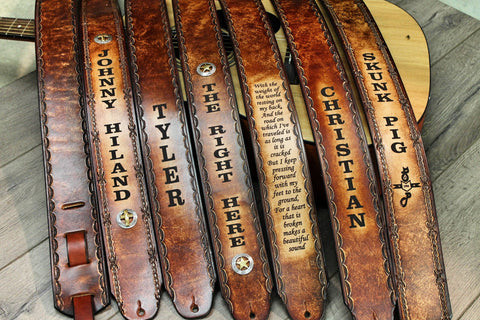 Engraved Leather Guitar Straps by Miller's Leather Shop