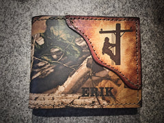 LINEMAN wallet, RealTree Camo Leather, Initials/Name Free!