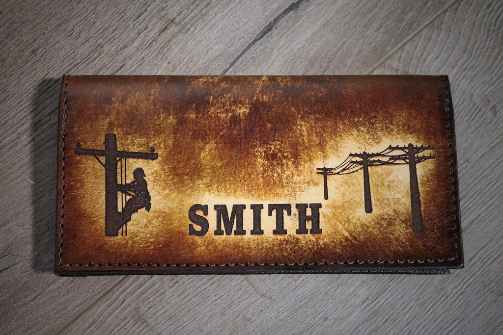 LINEMAN Leather Checkbook Cover, personalized checkbook cover, made by Miller's Leather Shop