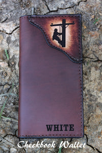 LINEMAN Roper Style Wallet, Roper style wallet, checkbook wallet, Initials or Name Engraved Free!