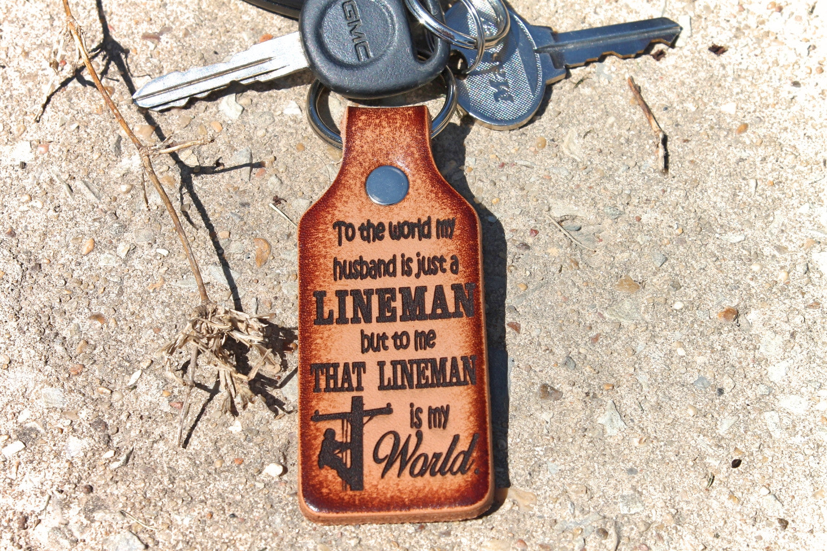 That LINEMAN is my world Keychain, gift for lineman lady, line wife gift, deeply engraved leather, Gift Boxed!