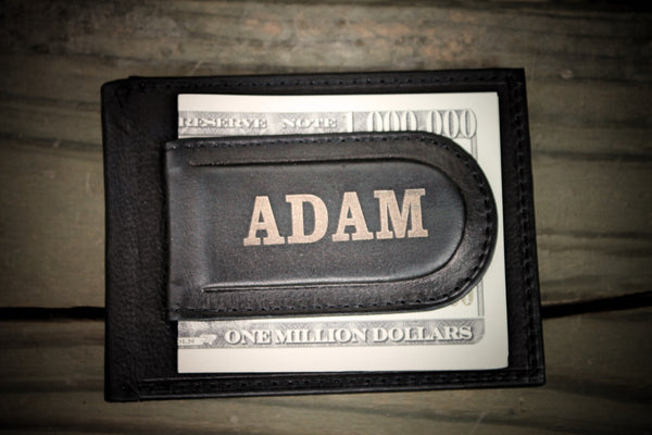 Front Pocket Moneyclip wallet, BEST Groomsmen Gift, wallet for Dad, Father's Day Gift, Personalized Free!