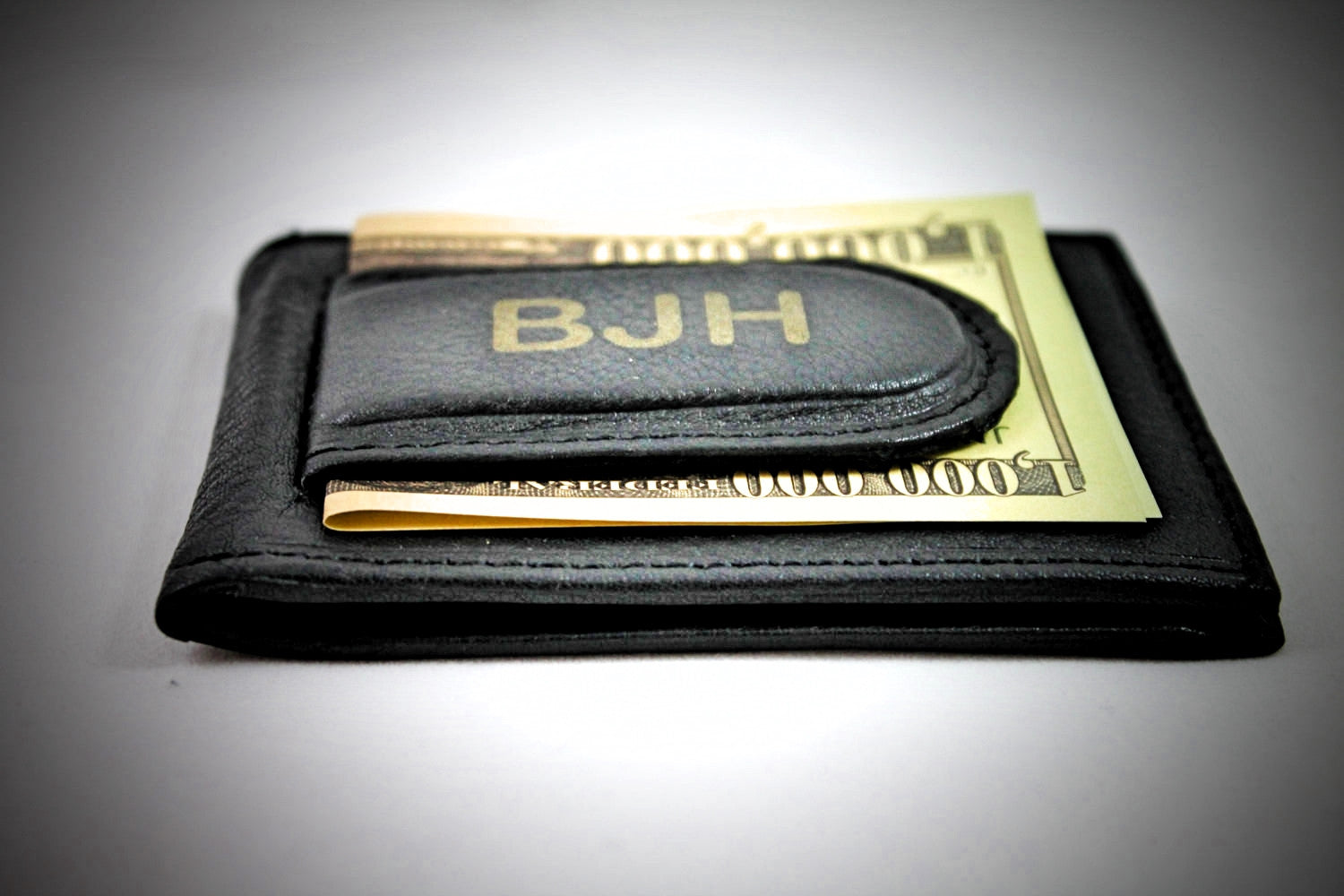 BEST Groomsmen Gifts -Soft BLACK Leather Wallet & Money Clip --Initials FREE!