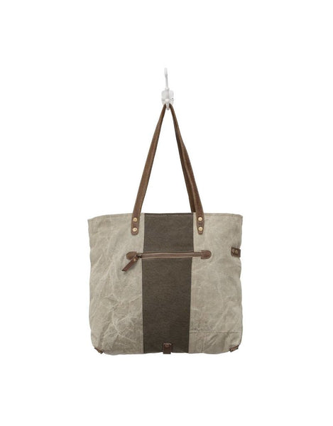 Adventure Begins Canvas and Leather Tote Bag by Myra