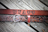 Kid's Leather Belt, WESTERN OAK LEAF DESIGN, cowboy belt,Name Engraved Free!