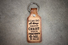 "Key Chain Tooled Leather ""Philippians 4:13"" I Can Do All Things..."