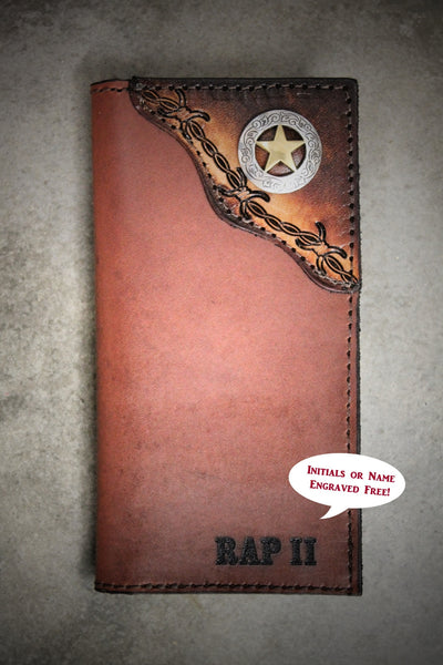 Roper Checkbook Wallet with Tooled Barbed Wire Corner and Western Star Concho--Personalized Free!