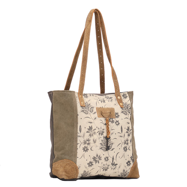 Unique Key Tote in Leather and Canvas by Myra Bag (1522)