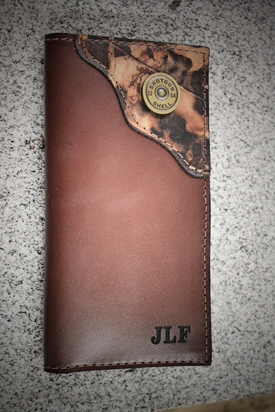 Shotgun Shell Wallet, Roper Checkbook Style, Personalized Free