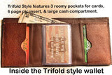 Handcrafted Camo Leather Trifold with Bass Fishing accent in corner--Personalized Free!!