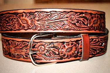 Handcrafted Leather Belt -- Western Carved Design-- Made in the USA