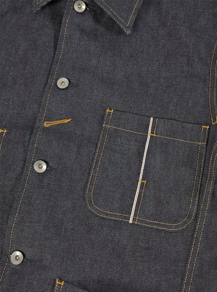 Universal Works: Workshop Denim, Indigo Bakers Chore Jacket in Selvedge Denim