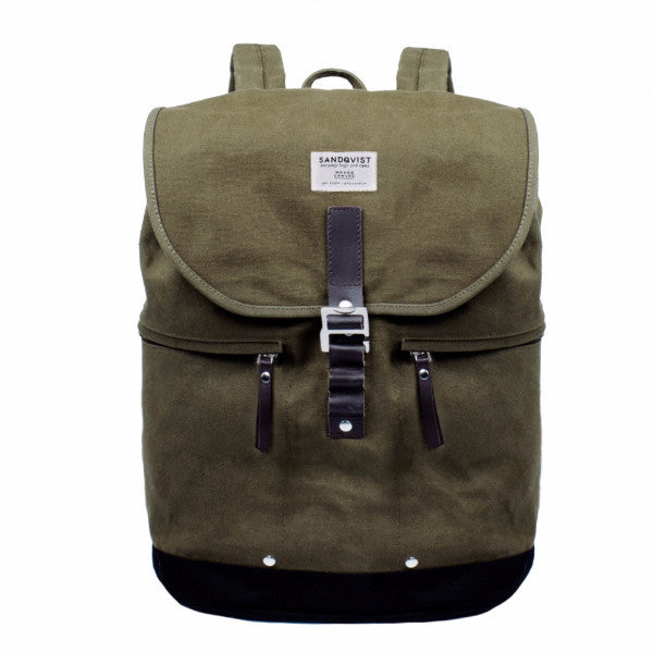 Sandqvist Gary Waxed Olive Backpack