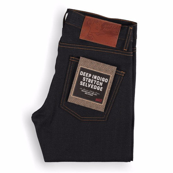 "Naked & Famous Deep Indigo Stretch Selvedge, ""super skinny"""