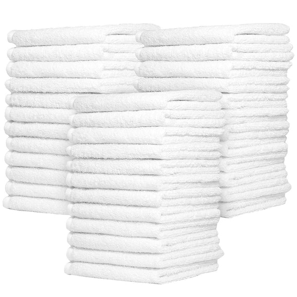 Zeppoli Auto Shop & Car Wash Towels - 36 Pack - 100% Pure White Cotton - 14 x 17 Commercial Grade and Absorbent - Can be Used for Drying, Home Cleaning, or Bathroom Wash Cloths
