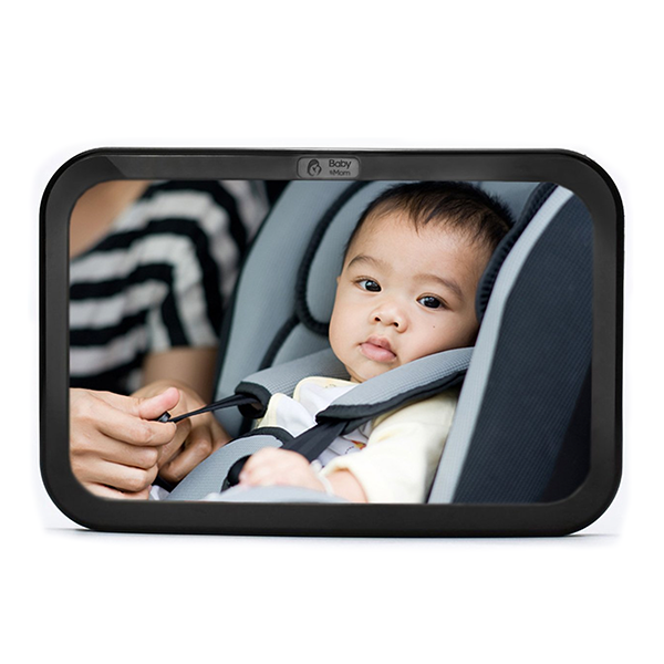Back Seat Baby Mirror - Rear View Baby Car Seat Mirror in Black & Gray by Baby & Mom