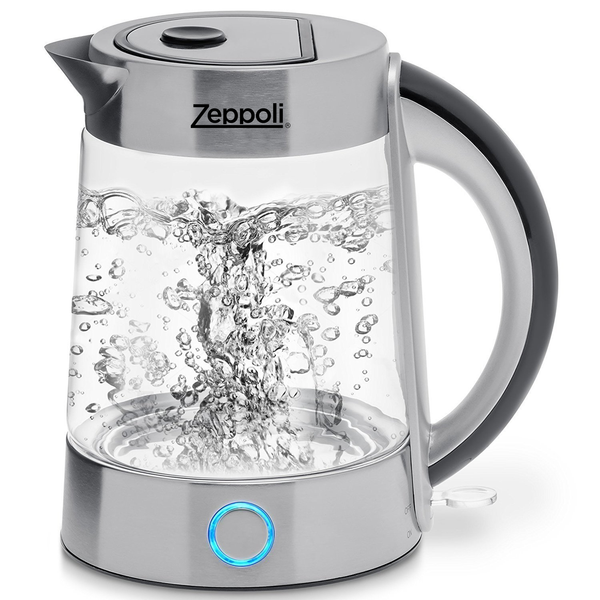 Zeppoli Electric Kettle (BPA Free) - Fast Boiling Glass Tea Kettle (1.7L) Cordless, Stainless Steel Finish Hot Water Kettle – Glass Tea Kettle, Tea Pot – Hot Water Heater Dispenser