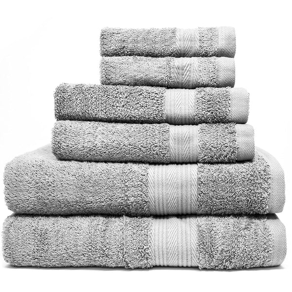 Zeppoli 6-Piece Towel Set - 100% Cotton Grey Towels - 2 Bath Towels, 2 Hand Towels, 2 Washcloth Towels