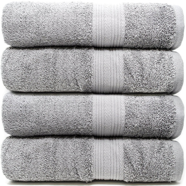 "Zeppoli 4-Pack Bath Towels Set (27"" x 54"") 100% Cotton Grey Towels - Mildew Resistant, 500 GSM Soft and Absorbent Bathroom Towels - Make Great Hotel Towels, Gym Towels, Shower Towels and Spa Towels"