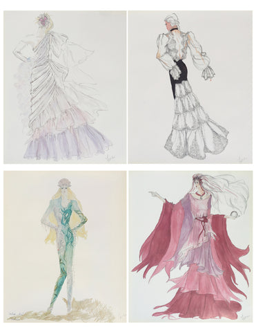 Set of 4 Fashion Sketches