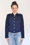 Atelier Francesca Navy Blue Military Style Jacket Silver Buttons