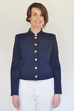 Atelier Francesca Navy Blue Military Style Jacket Gold Buttons