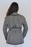 Back View of Atelier Francesca Black & White Herringbone Knit Statement Wrap