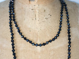 Close up of Lil Jewellry, faceted crystal necklace in jet black