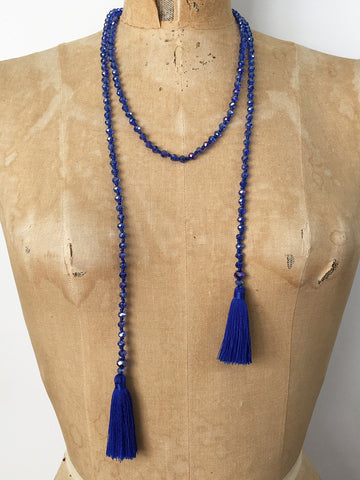 Lil Jewellry, Handcrafted Faceted Crystal Necklace - Blue