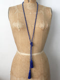 Lil Jewellry, faceted crystal necklace with tassels in blue