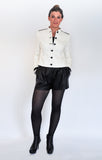 Atelier Francesca White & Black Classic Style Jacket with Leather Shorts