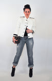 White & Black Classic Style Jacket with Boyfriend Jeans