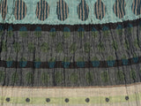 Detail of the Letol scarf, Colleen in browns, turquoise and celery green.