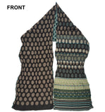 Front of Letol Colleen scarf in browns, turquoise and celery green.