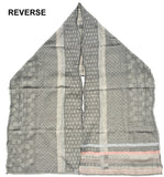 Reverse of Letol Daphne scarf in warm grey, greys with soft coral.