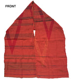 Front of Letol Desiree scarf in warm oranges and reds with hints of blue and green.