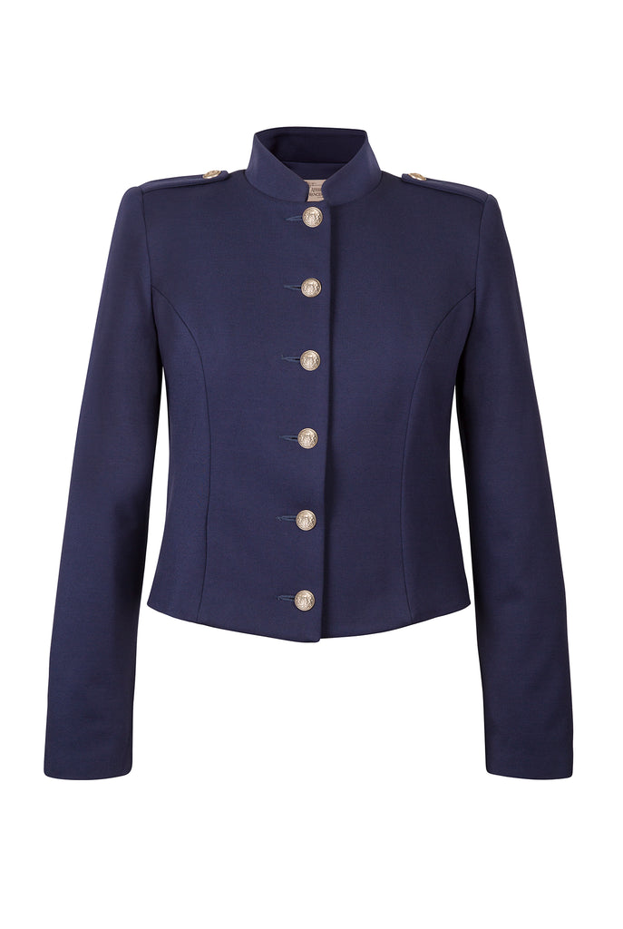 Atelier Francesca Navy Blue Military Style Jacket Antique Silver Buttons