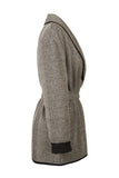 Atelier Francesca Black & White Herringbone Knit Wrap Side View