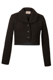 Atelier Francesca Black Wool Crepe Knit Shrug with facetted buttons