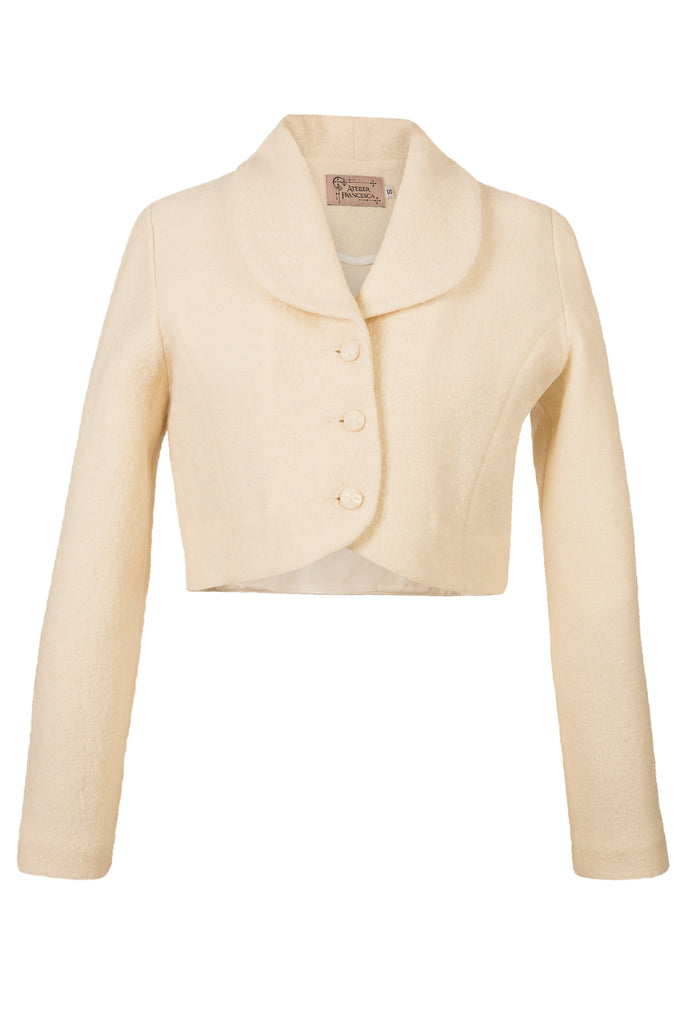 Atelier Francesca Winter White Wool Crepe Knit Shrug with facetted buttons