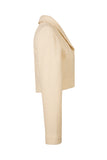 Side view of Atelier Francesca Winter White Wool Crepe Knit Shrug